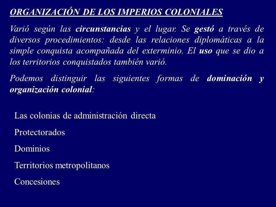ORGANIZACIÓN DE LOS IMPERIOS COLONIALES