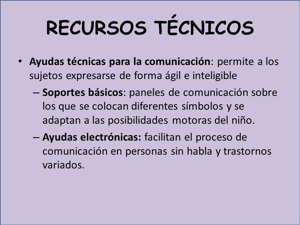 RECURSOS TÉCNICOS Ayudas técnicas para la comunicación: permite a los sujetos expresarse de forma ágil e inteligible.