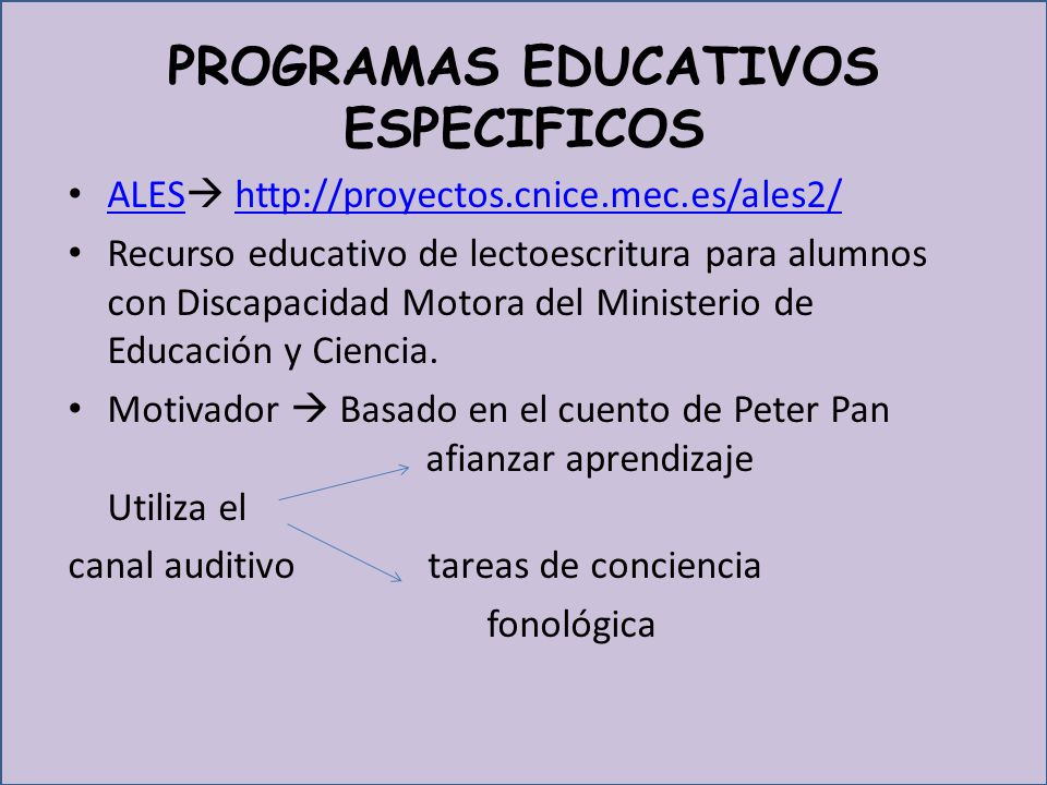 PROGRAMAS EDUCATIVOS ESPECIFICOS