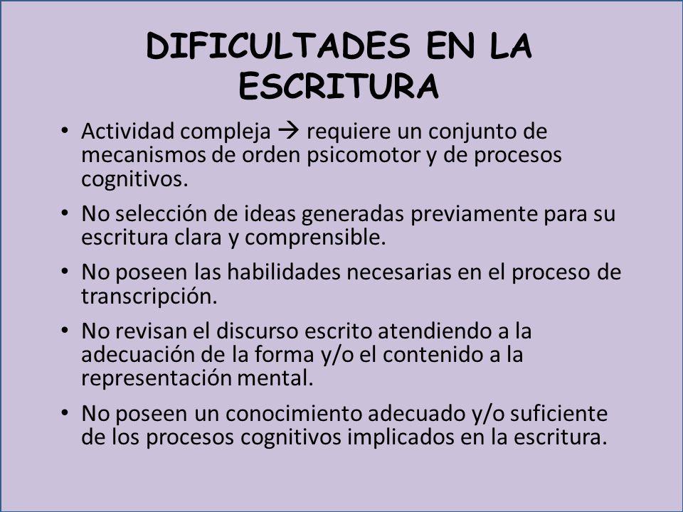 DIFICULTADES EN LA ESCRITURA
