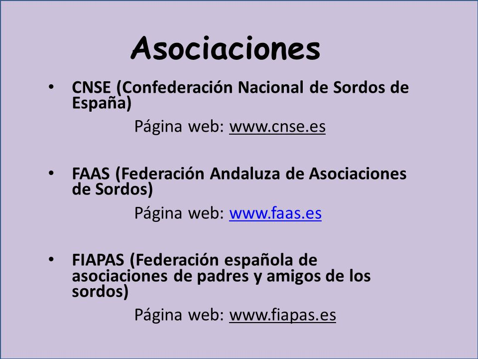 Asociaciones CNSE (Confederación Nacional de Sordos de España)