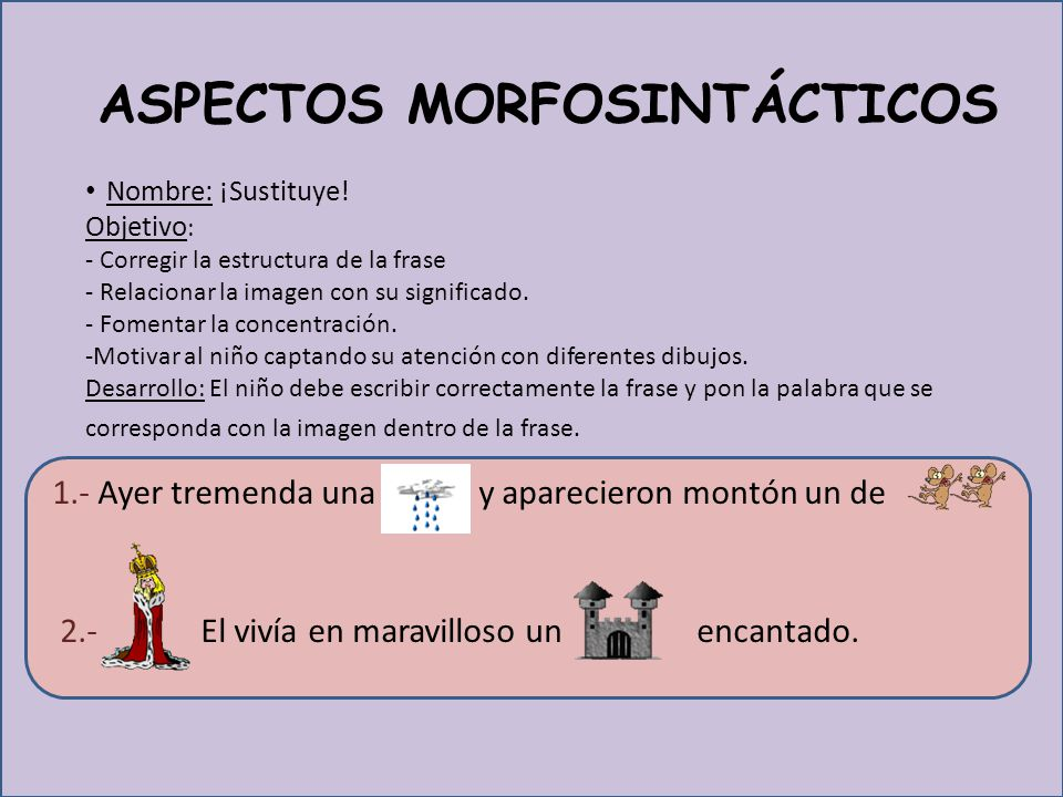 ASPECTOS MORFOSINTÁCTICOS