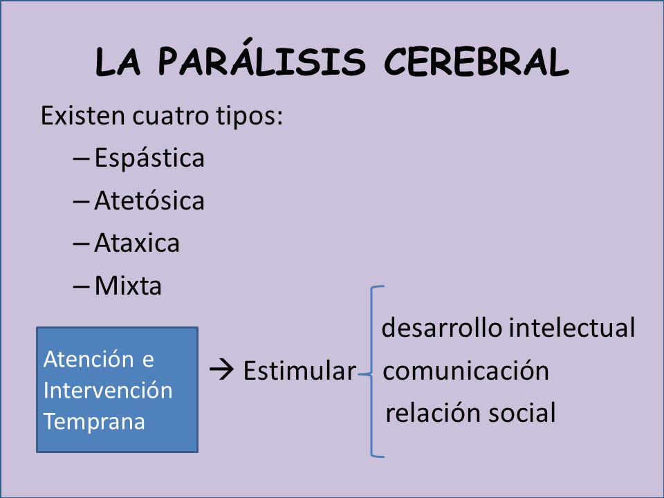 LA PARÁLISIS CEREBRAL Existen cuatro tipos: Espástica Atetósica