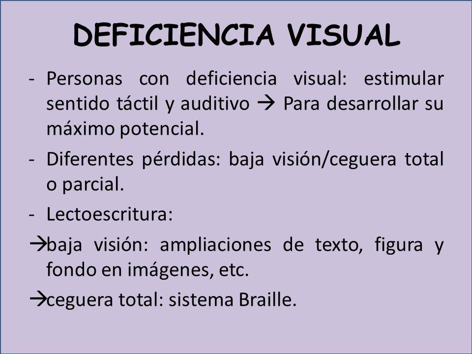 DEFICIENCIA VISUAL Personas con deficiencia visual: estimular sentido táctil y auditivo  Para desarrollar su máximo potencial.