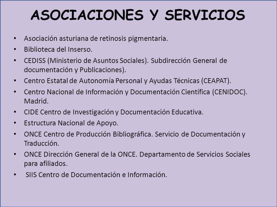 ASOCIACIONES Y SERVICIOS