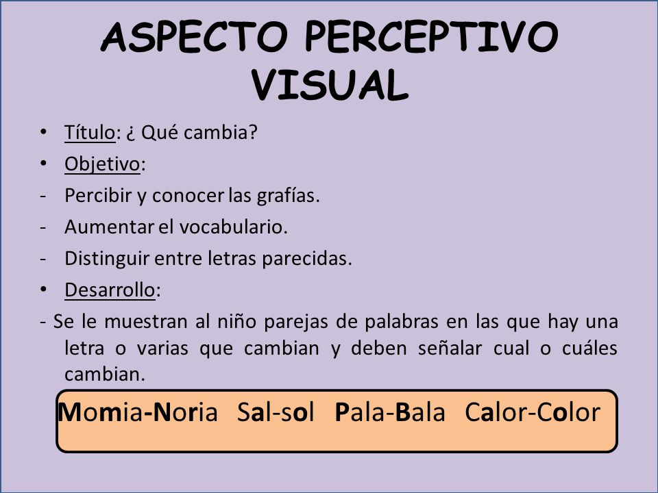 ASPECTO PERCEPTIVO VISUAL