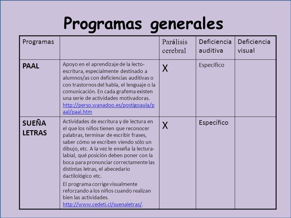 Programas generales X PAAL SUEÑA LETRAS Programas Parálisis cerebral