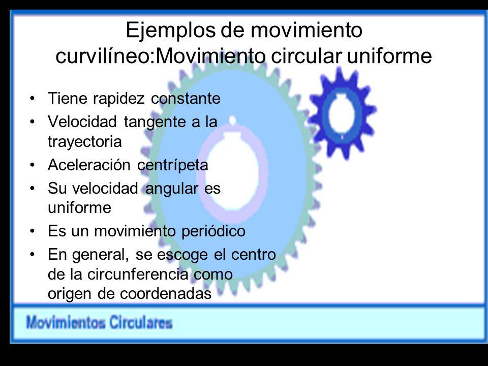 Ejemplos de movimiento curvilíneo:Movimiento circular uniforme
