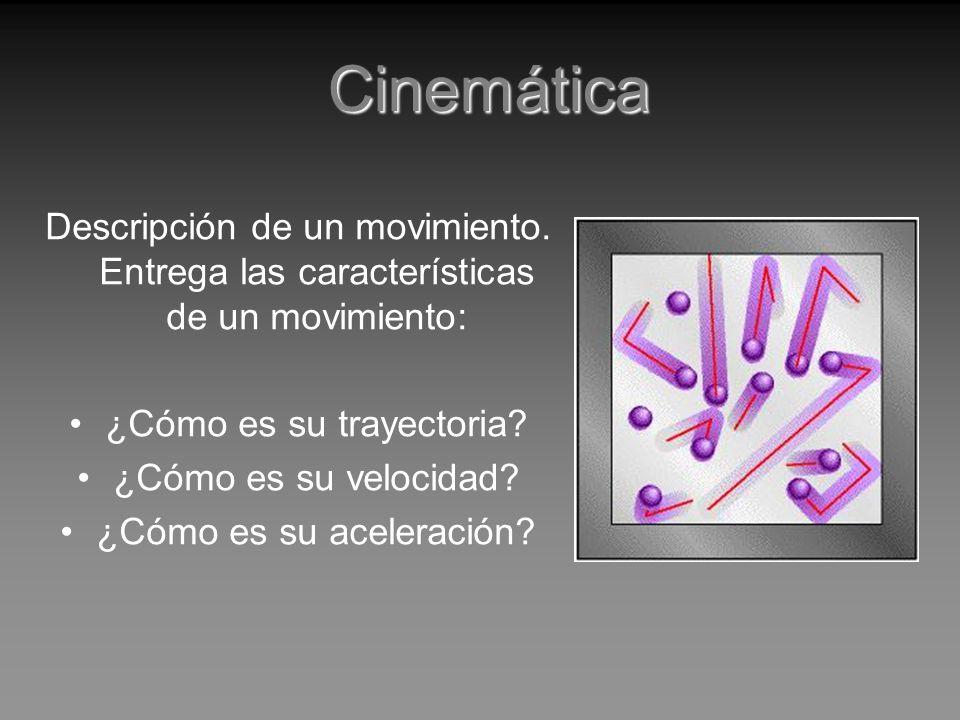 Cinemática Descripción de un movimiento. Entrega las características de un movimiento: ¿Cómo es su trayectoria