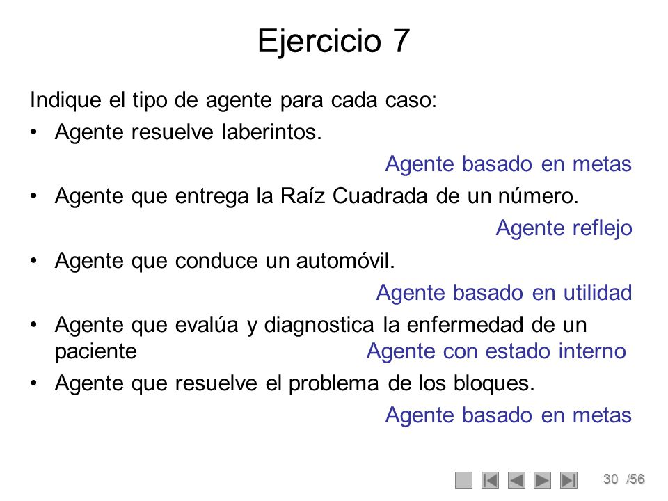 Ejercicio 7 Indique el tipo de agente para cada caso: