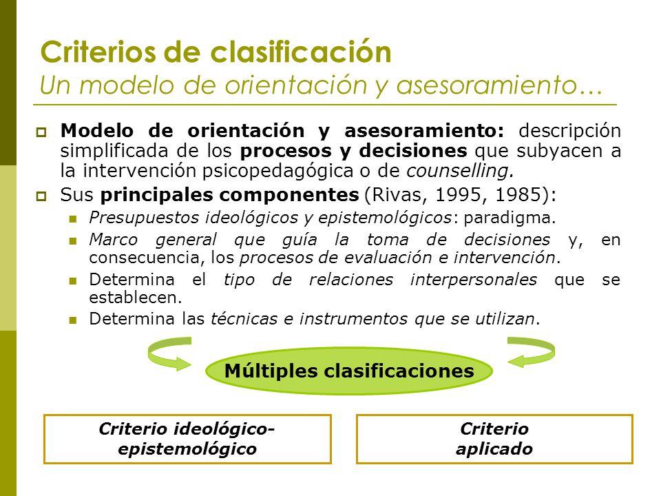 Criterios de clasificación Un modelo de orientación y asesoramiento…