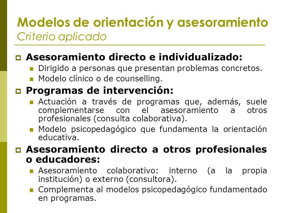 Modelos de orientación y asesoramiento Criterio aplicado