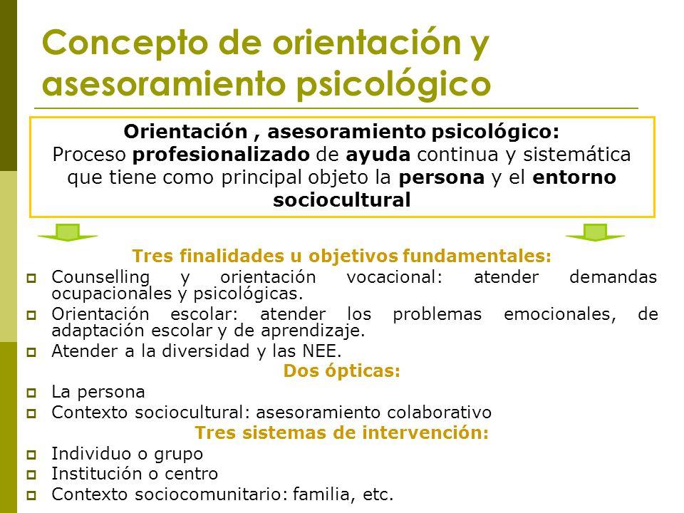 Concepto de orientación y asesoramiento psicológico