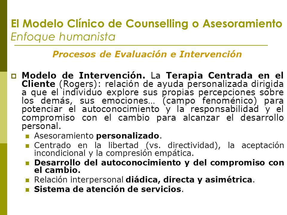El Modelo Clínico de Counselling o Asesoramiento Enfoque humanista