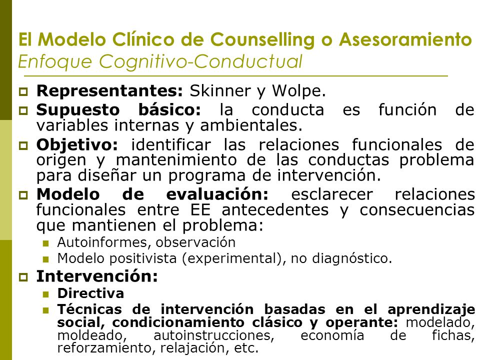 El Modelo Clínico de Counselling o Asesoramiento Enfoque Cognitivo-Conductual