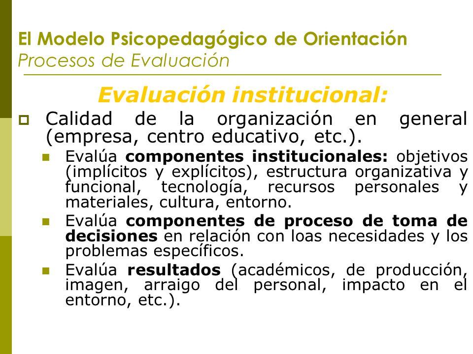 El Modelo Psicopedagógico de Orientación Procesos de Evaluación