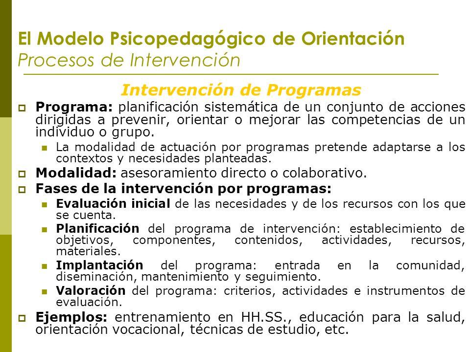 El Modelo Psicopedagógico de Orientación Procesos de Intervención