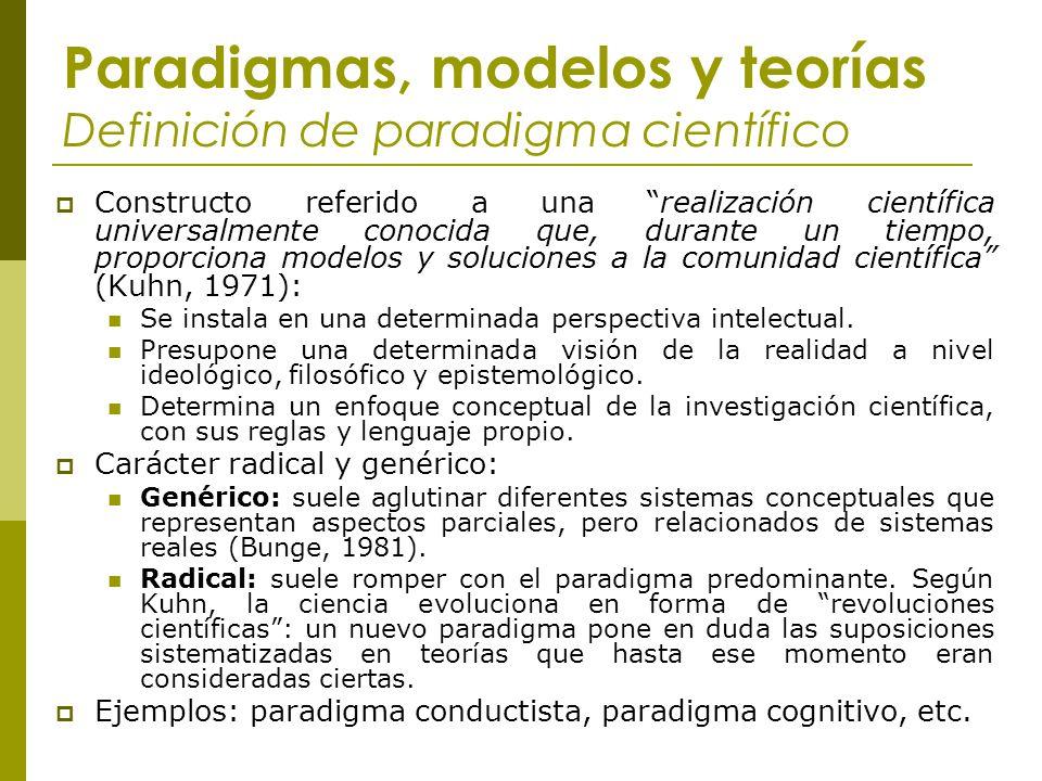 Paradigmas, modelos y teorías Definición de paradigma científico