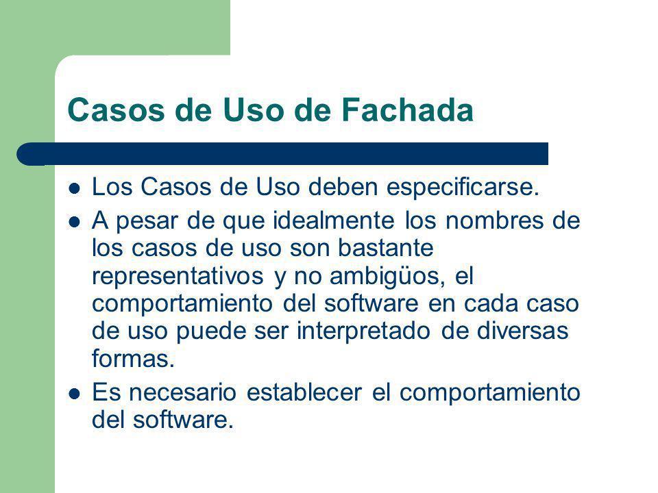Casos de Uso de Fachada Los Casos de Uso deben especificarse.