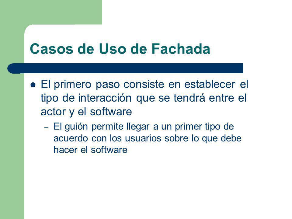Casos de Uso de Fachada El primero paso consiste en establecer el tipo de interacción que se tendrá entre el actor y el software.