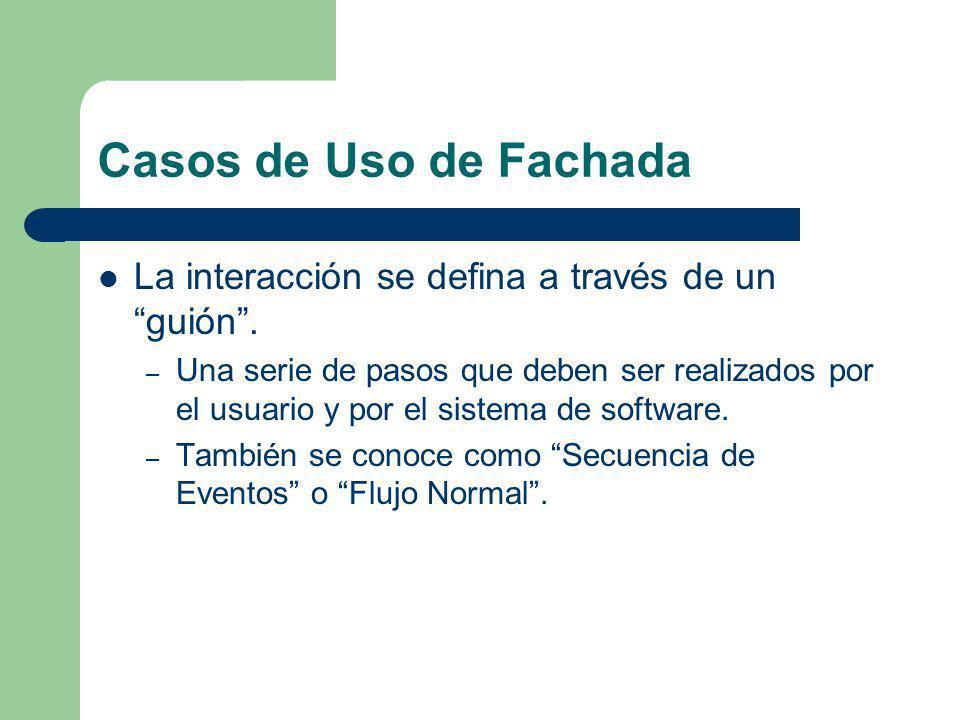 Casos de Uso de Fachada La interacción se defina a través de un guión .