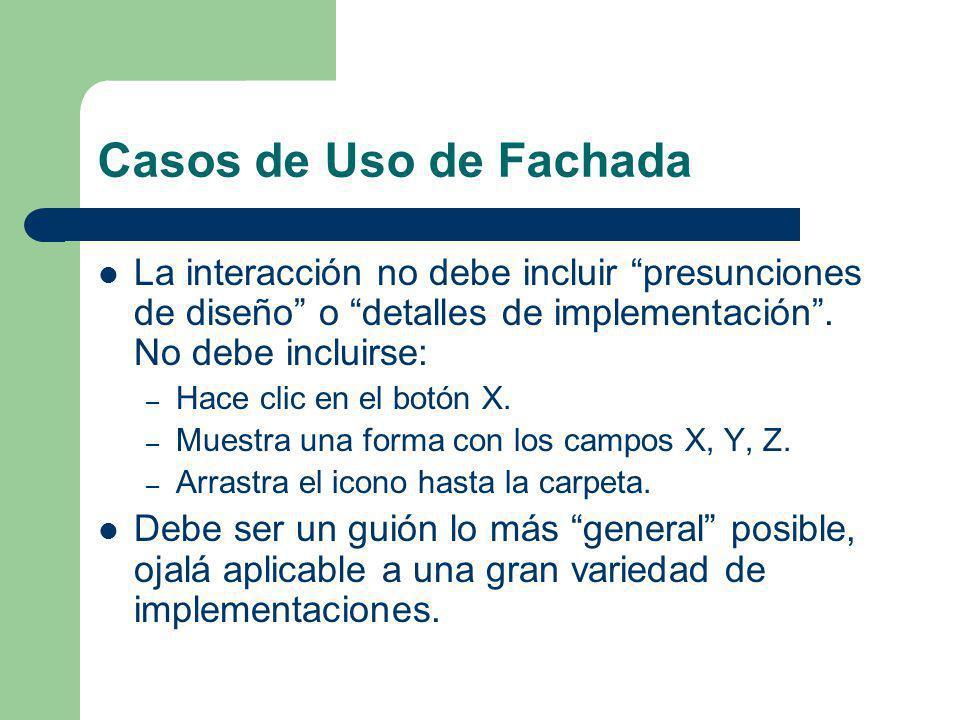 Casos de Uso de Fachada La interacción no debe incluir presunciones de diseño o detalles de implementación . No debe incluirse: