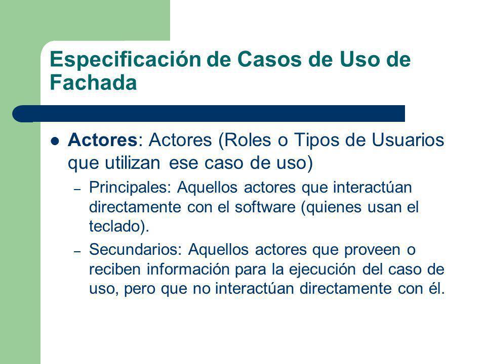 Especificación de Casos de Uso de Fachada