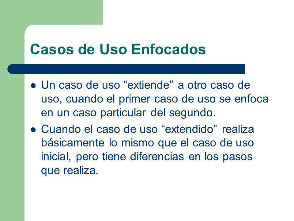 Casos de Uso Enfocados Un caso de uso extiende a otro caso de uso, cuando el primer caso de uso se enfoca en un caso particular del segundo.