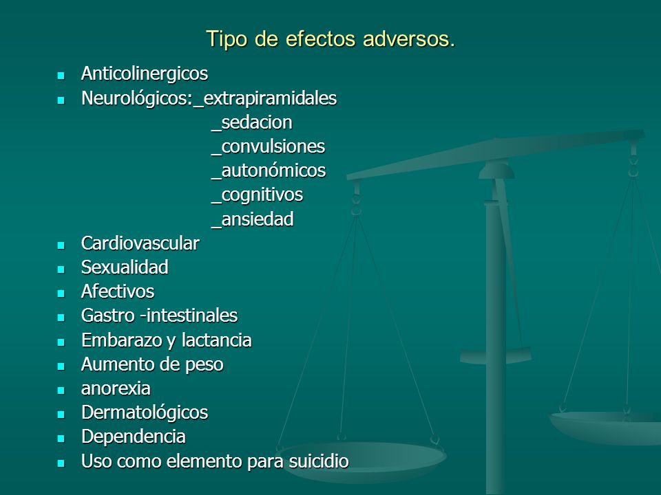 Tipo de efectos adversos.