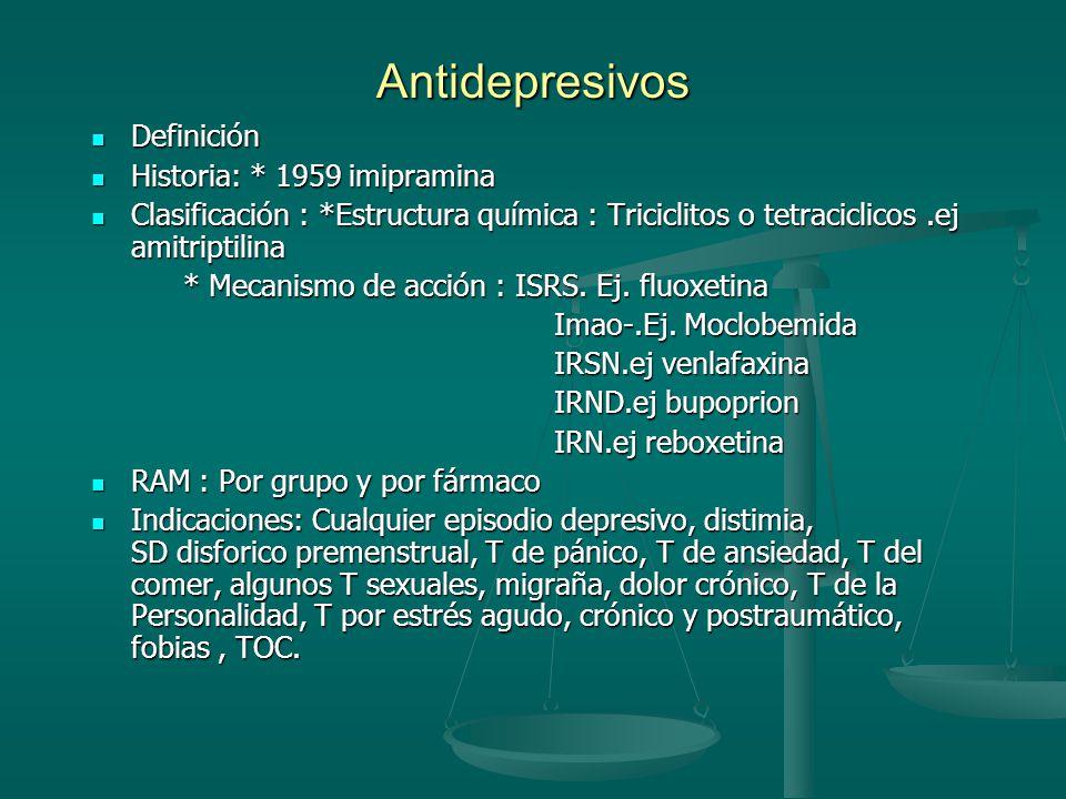 Antidepresivos Definición Historia: * 1959 imipramina