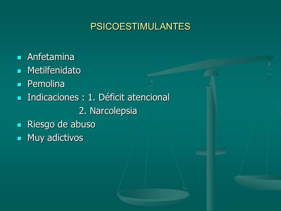 PSICOESTIMULANTES Anfetamina. Metilfenidato. Pemolina. Indicaciones : 1. Déficit atencional. 2. Narcolepsia.