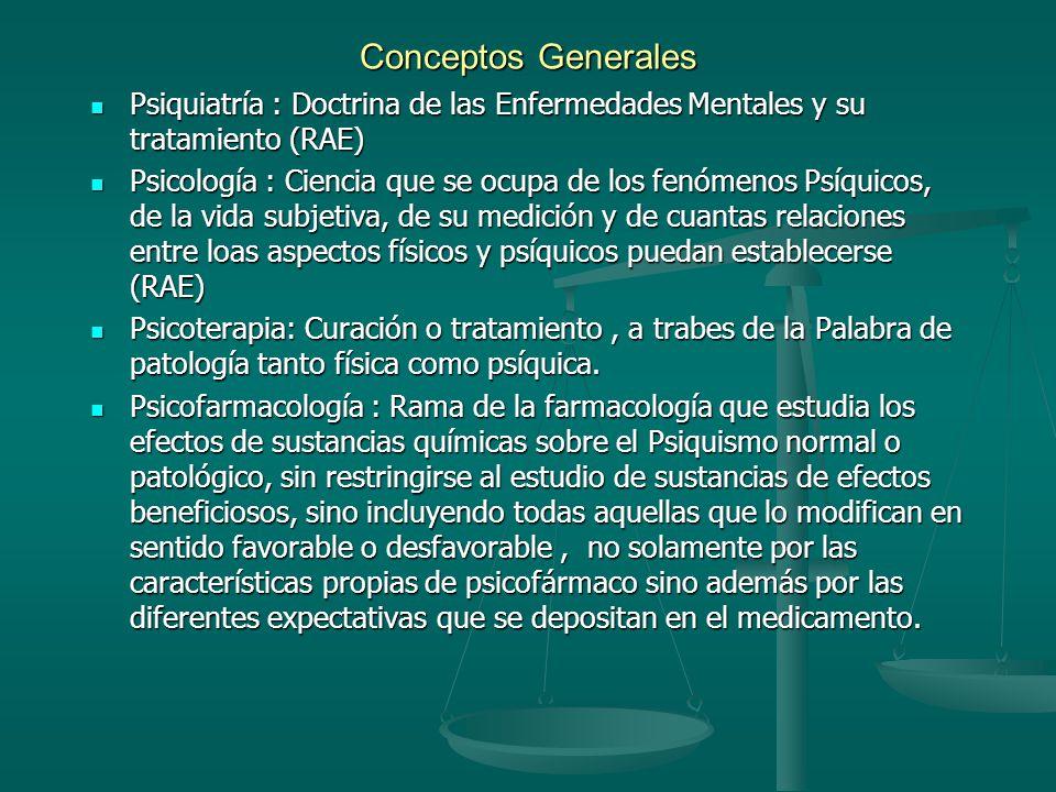 Conceptos Generales Psiquiatría : Doctrina de las Enfermedades Mentales y su tratamiento (RAE)