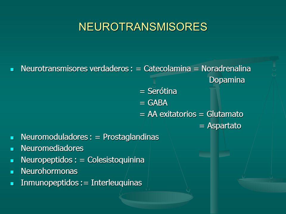 NEUROTRANSMISORES Neurotransmisores verdaderos : = Catecolamina = Noradrenalina. Dopamina. = Serótina.