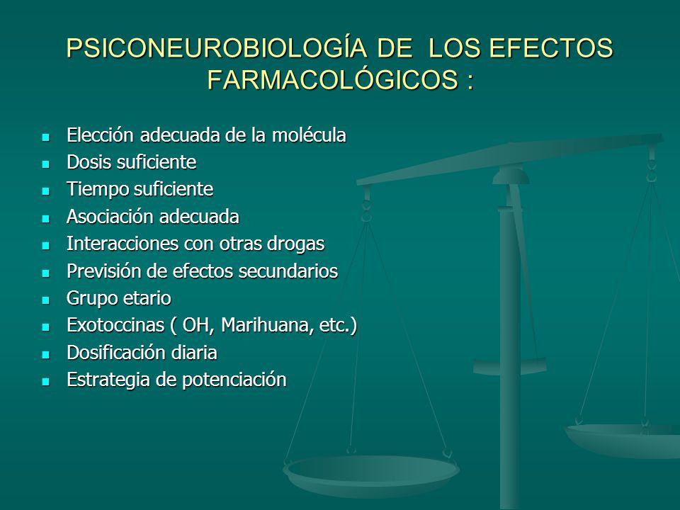 PSICONEUROBIOLOGÍA DE LOS EFECTOS FARMACOLÓGICOS :