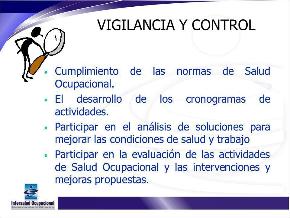 VIGILANCIA Y CONTROL Cumplimiento de las normas de Salud Ocupacional.