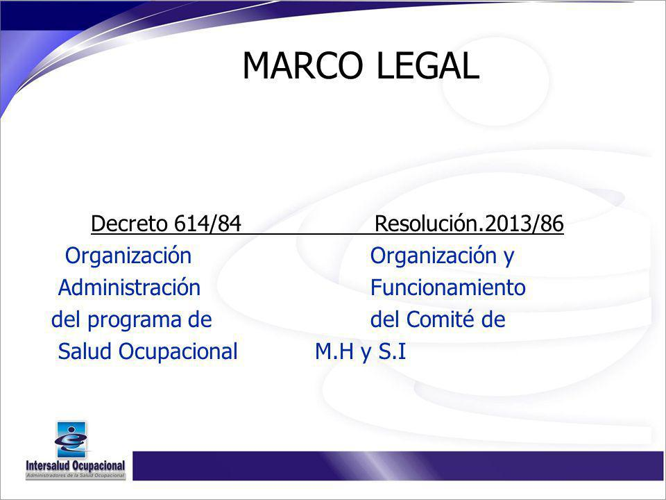 MARCO LEGAL Decreto 614/84 Resolución.2013/86