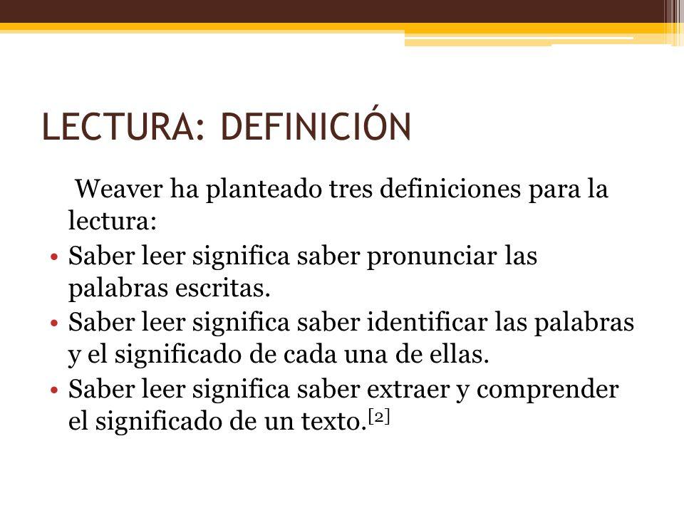 LECTURA: DEFINICIÓN Weaver ha planteado tres definiciones para la lectura: Saber leer significa saber pronunciar las palabras escritas.