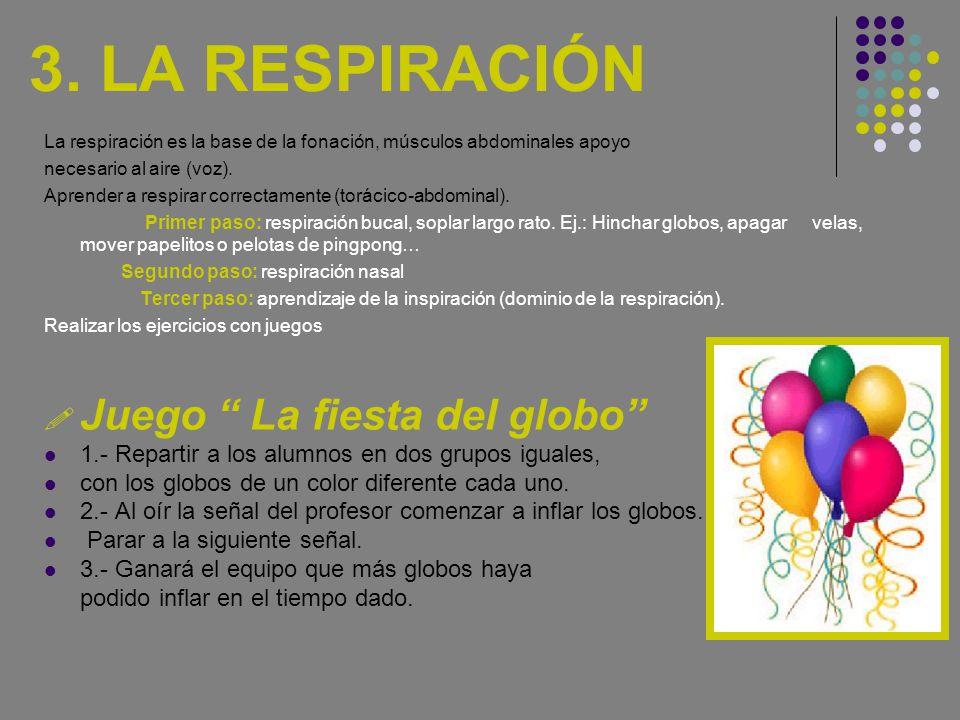 3. LA RESPIRACIÓN Juego La fiesta del globo