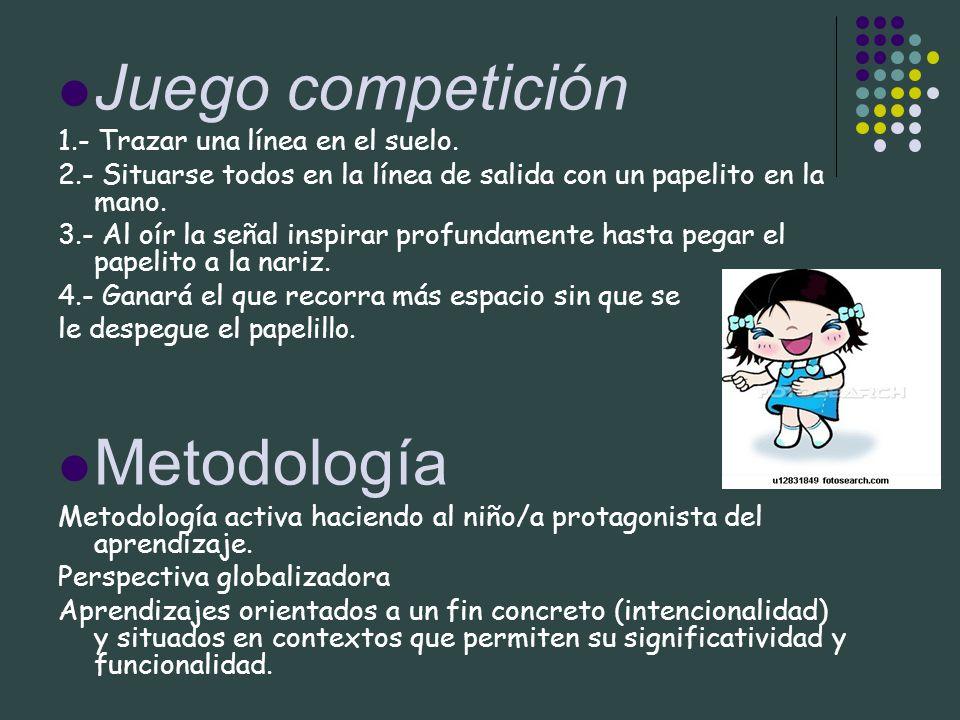 Juego competición Metodología 1.- Trazar una línea en el suelo.