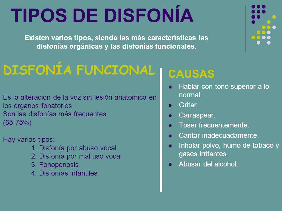 TIPOS DE DISFONÍA DISFONÍA FUNCIONAL CAUSAS