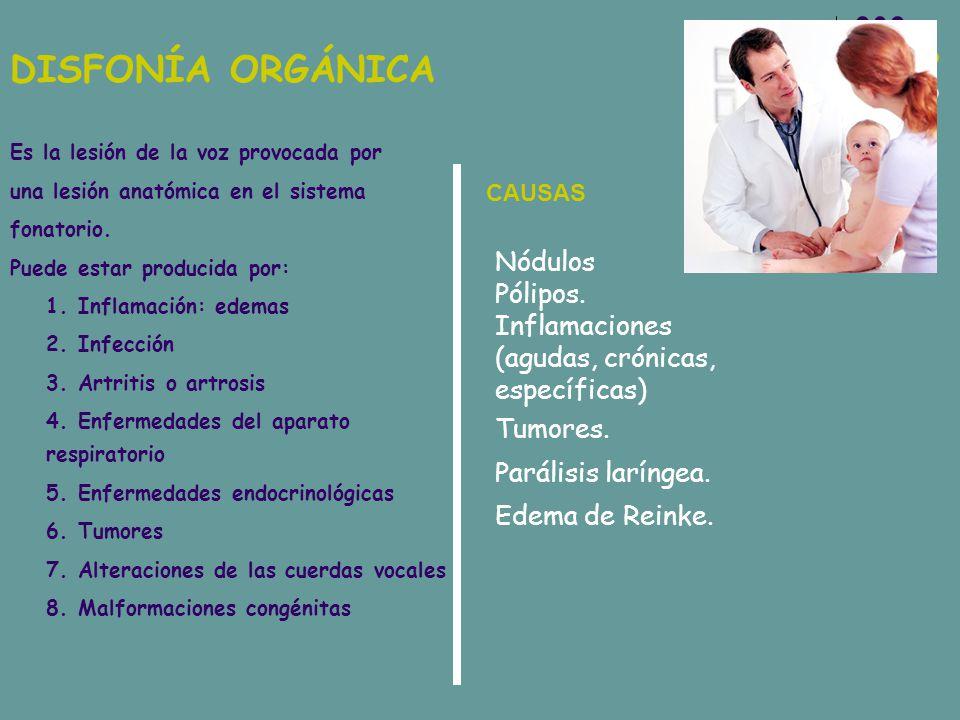 DISFONÍA ORGÁNICA Es la lesión de la voz provocada por. una lesión anatómica en el sistema. fonatorio.
