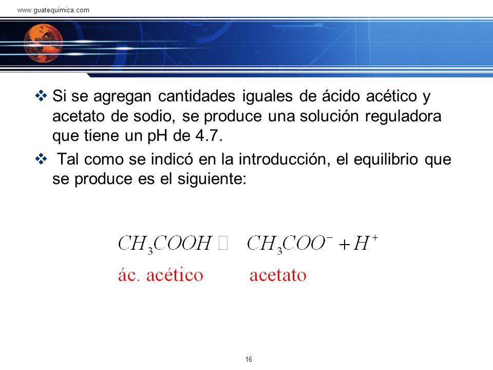 www.guatequimica.com Si se agregan cantidades iguales de ácido acético y acetato de sodio, se produce una solución reguladora que tiene un pH de 4.7.