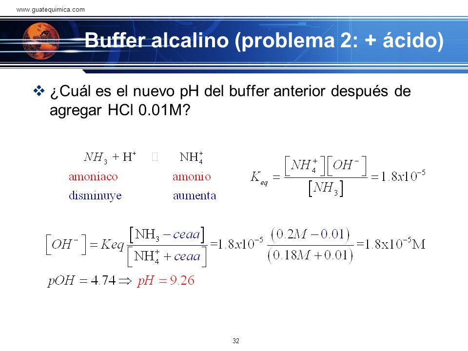 Buffer alcalino (problema 2: + ácido)