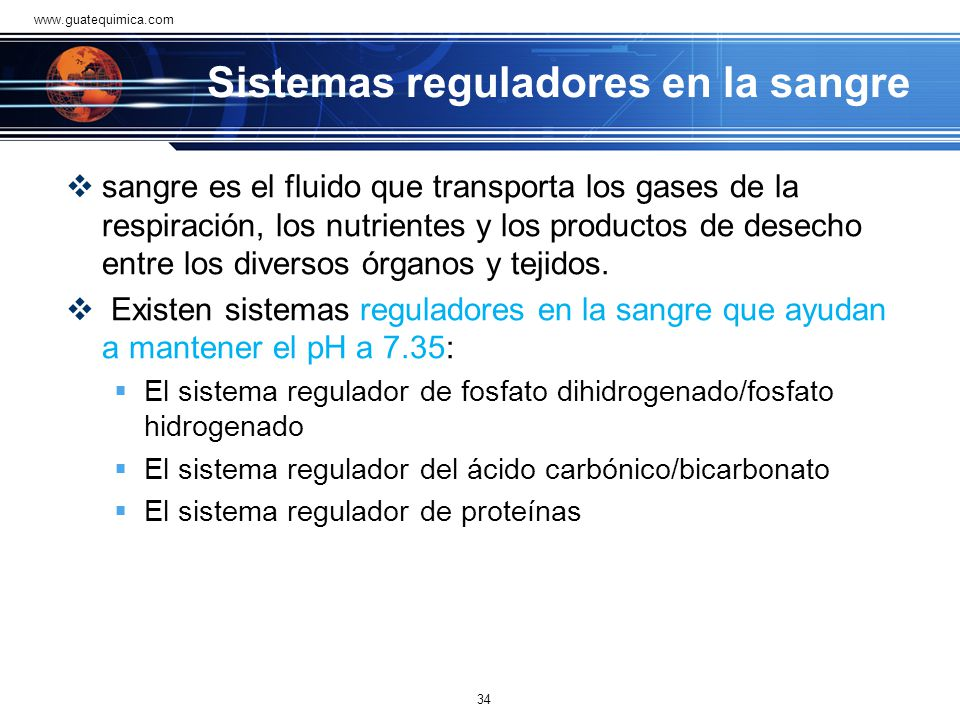 Sistemas reguladores en la sangre