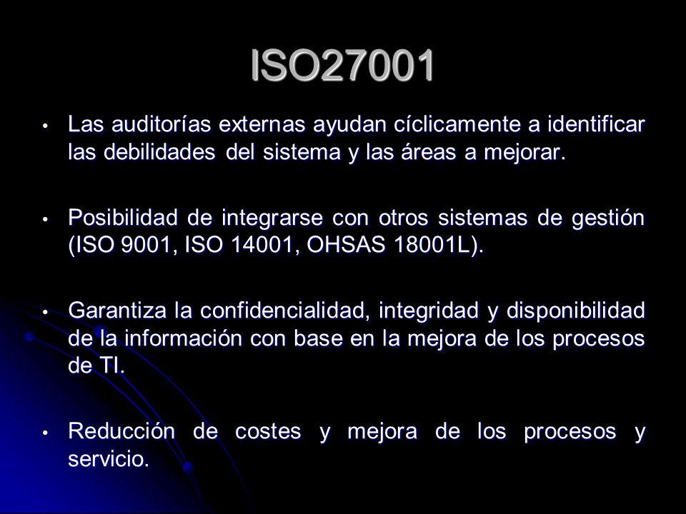 ISO27001 Las auditorías externas ayudan cíclicamente a identificar las debilidades del sistema y las áreas a mejorar.