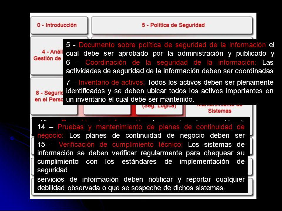 5 - Documento sobre política de seguridad de la información el cual debe ser aprobado por la administración y publicado y comunicado a todos los empleados y las organizaciones externas relevantes.