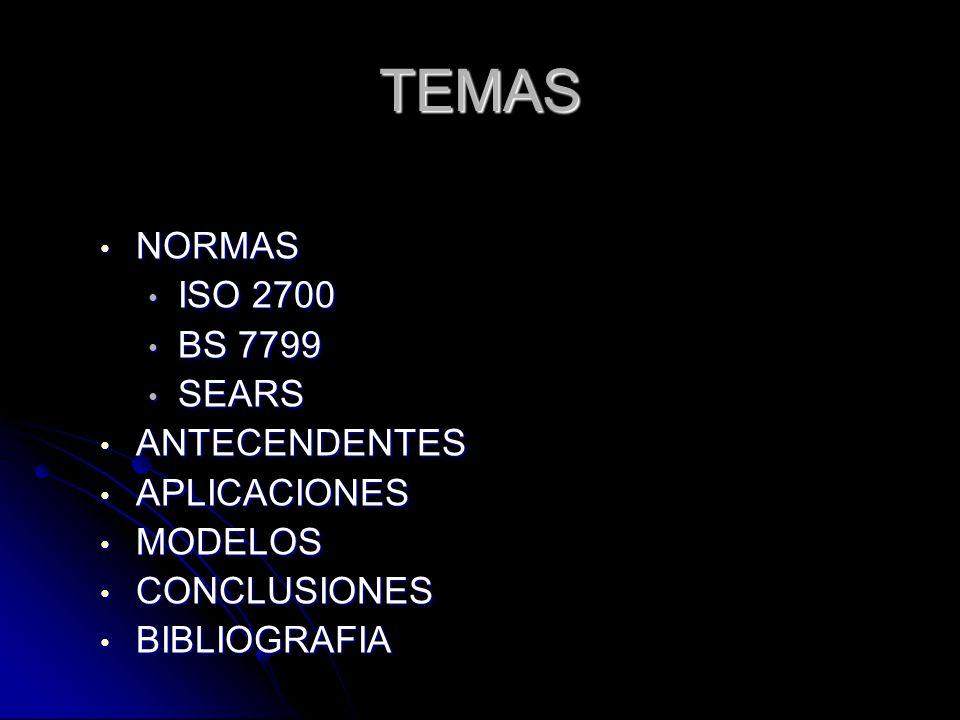 TEMAS NORMAS ISO 2700 BS 7799 SEARS ANTECENDENTES APLICACIONES MODELOS