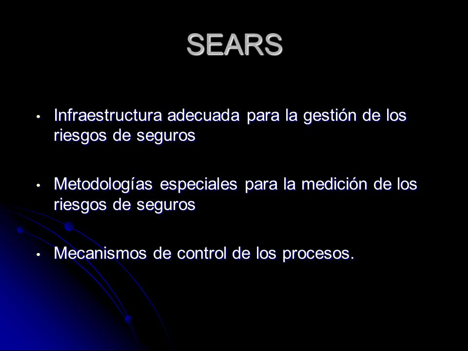 SEARS Infraestructura adecuada para la gestión de los riesgos de seguros. Metodologías especiales para la medición de los riesgos de seguros.