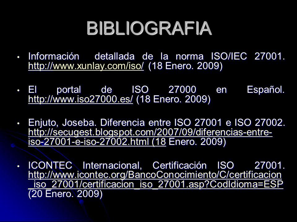 BIBLIOGRAFIA Información detallada de la norma ISO/IEC 27001. http://www.xunlay.com/iso/ (18 Enero. 2009)