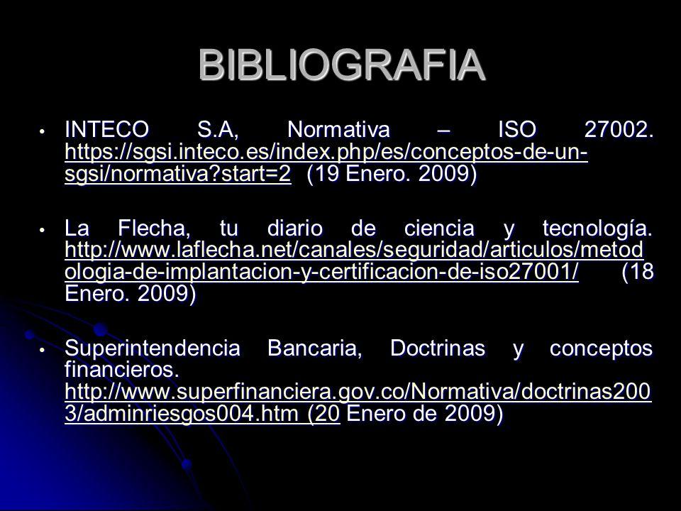BIBLIOGRAFIA INTECO S.A, Normativa – ISO 27002. https://sgsi.inteco.es/index.php/es/conceptos-de-un-sgsi/normativa start=2 (19 Enero. 2009)